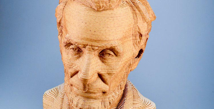 Laser cut layered 3D Abraham Lincoln bust