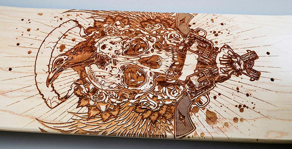 Laser engraved skateboard deck