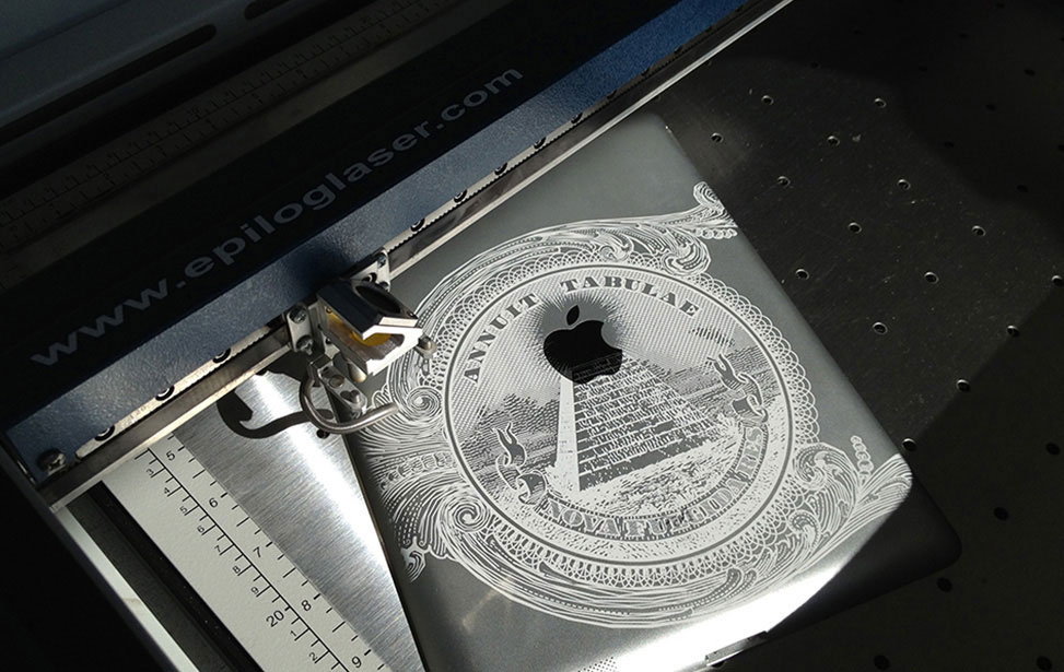 iPad laser engraved with an Epilog Laser machine.