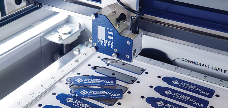 Epilog Laser Fusion M2 with acrylic fobs