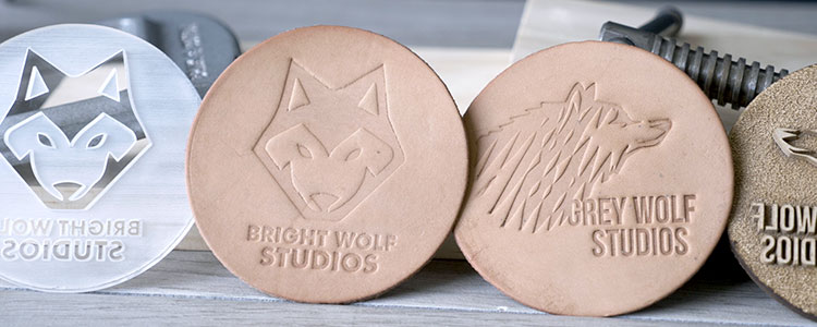 Leather patches debossed with laser engraved MDF and acrylic stamps