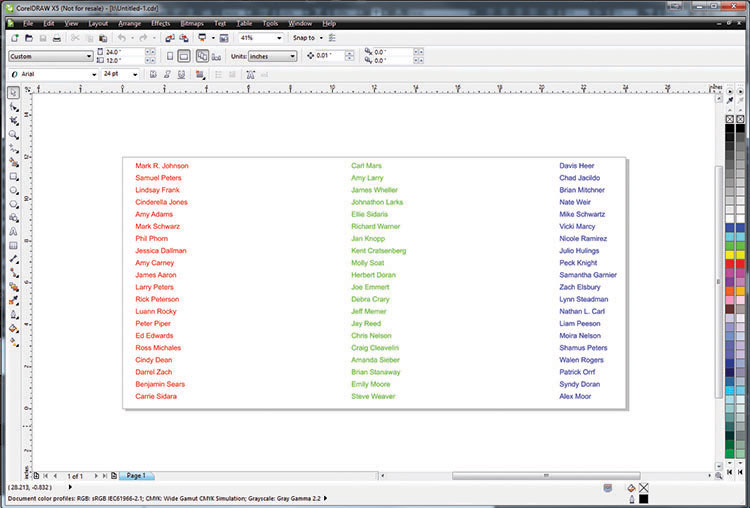 Three columns of names color mapped in Corel Draw.