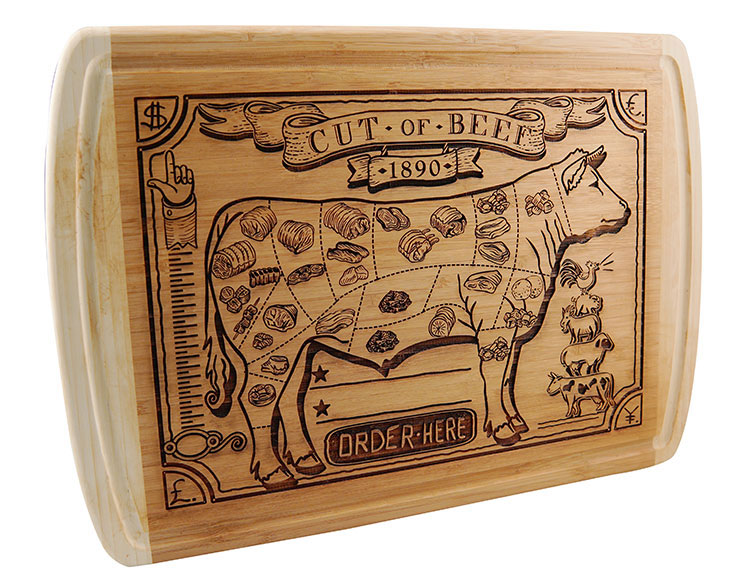 Laser engraved wooden cutting board.