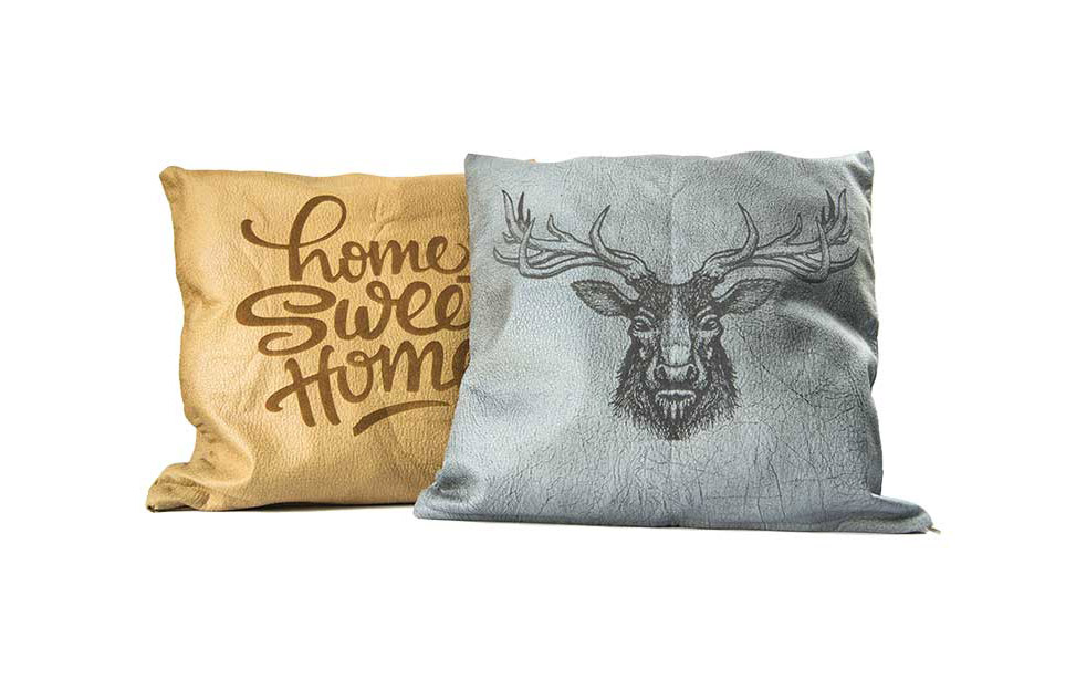 Laser Engraved Faux Leather Pillow Cases