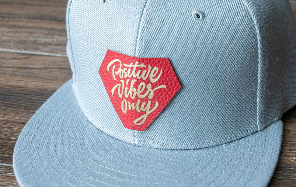 Laser Engraved Red Leather Hat Patch
