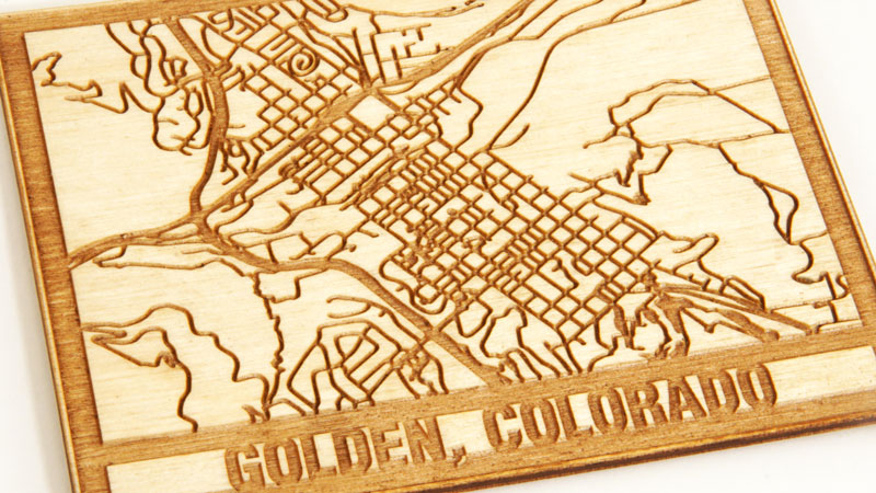 maple laser engraved map of golden, colorado