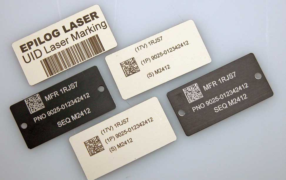 Multiple engraved barcodes.