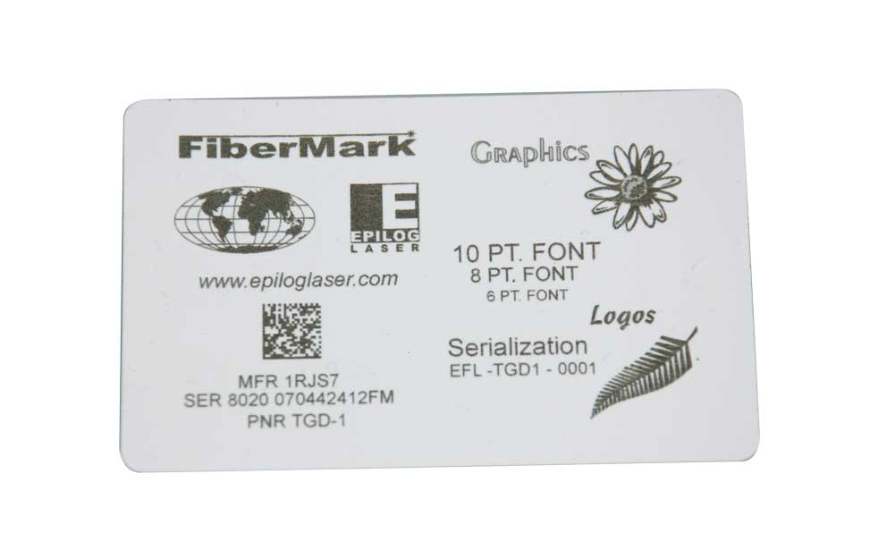Engraved plastic card with photo, logo and text.