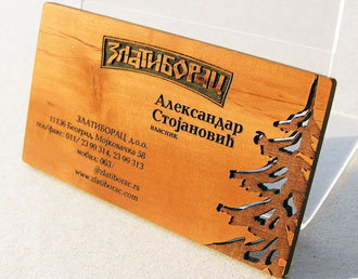Laser engraved wooden business card.