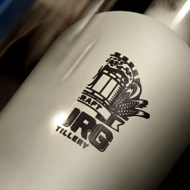 Stainless Steel Growler Being Engraved with an Epilog Laser Using Laser Marking Spray