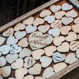 Laser Cut and Engraved Wooden Hearts in a Wedding Guestbook Shadow Box
