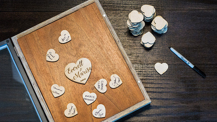 Wedding Guestbook Shadow Box with Laser Cut and Engraved Hearts