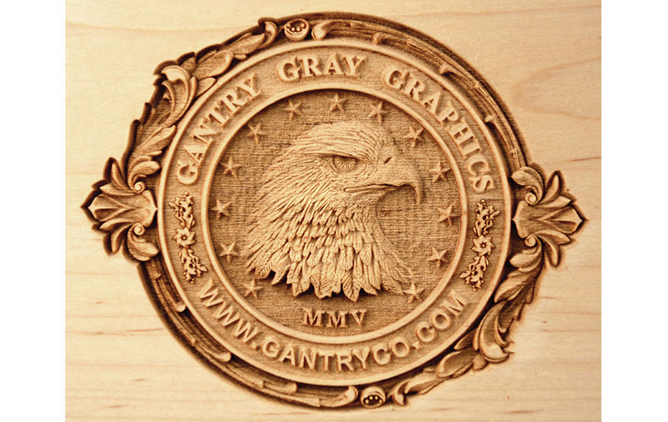 3D Eagle Head Engraving on Wood