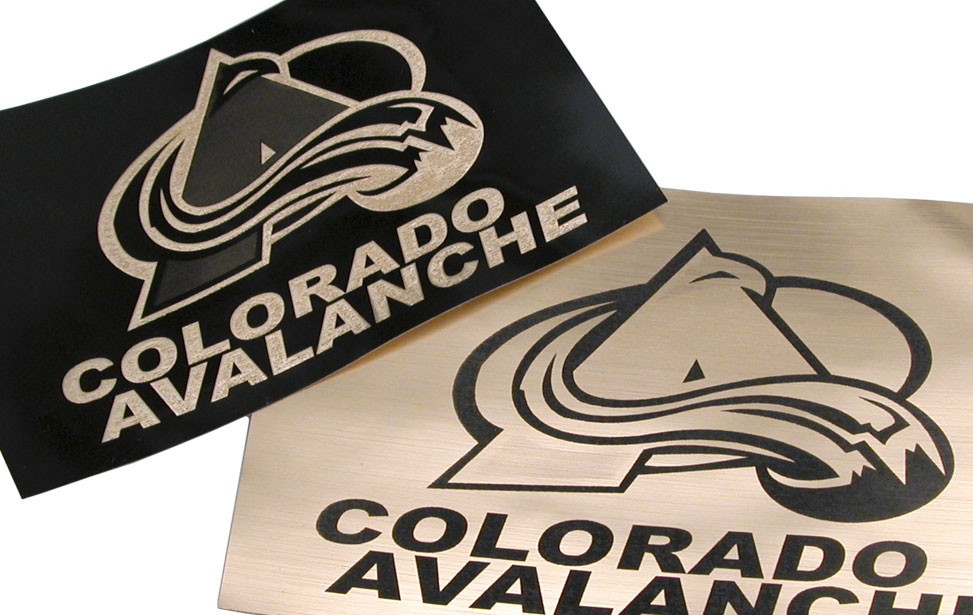 Colorado Avalanche gold and black plastic logo stickers