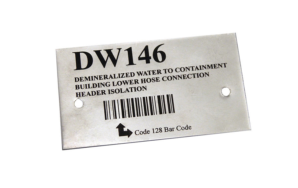 Metal Plate with CerMark Barcode