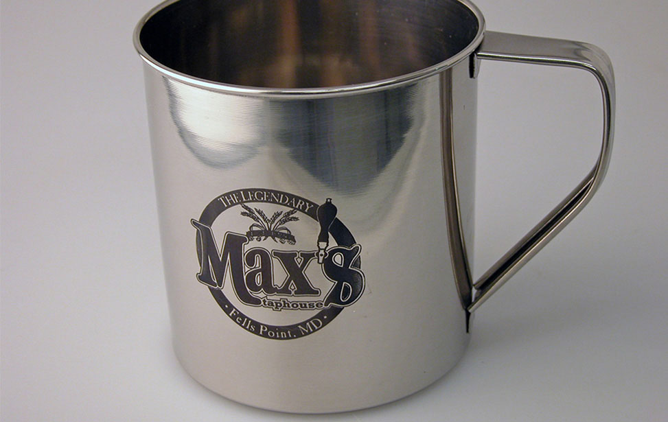 Tin Cup with CerMarked Max's Logo