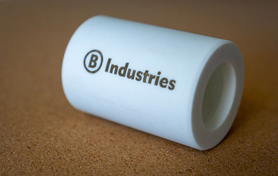 Laser Marked Ceramic Cylinder with Logo