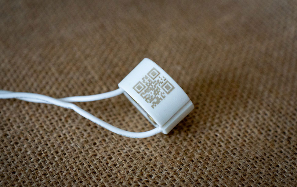 Laser Marked Ceramic Light Socket Base with QR Code