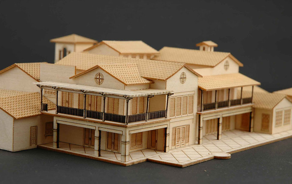 Golf course country club model building