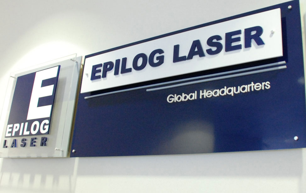Epilog Laser international headquarters indoor acrylic signage with stand offs