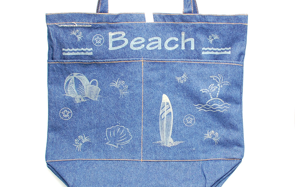 Laser Engraved Denim Beach Bag