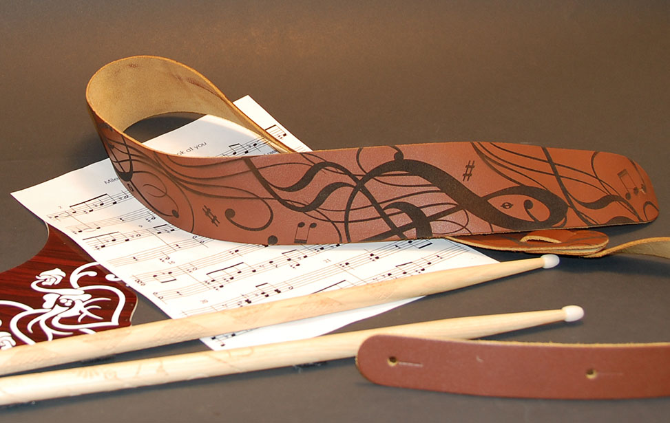Engraved Leather Guitar Strap