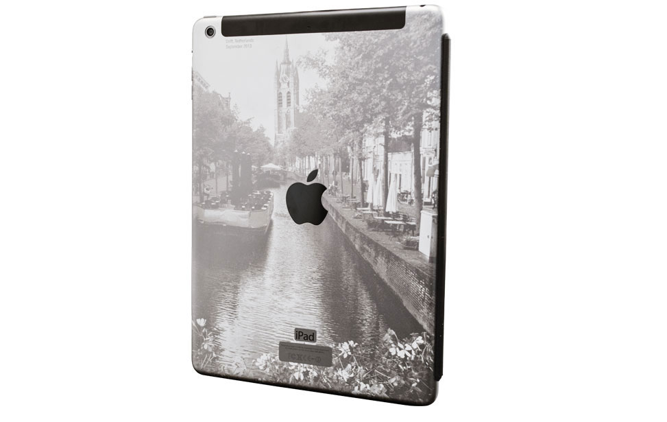 Apple iPad Air laser engraved with artistic vacation photograph of Delft