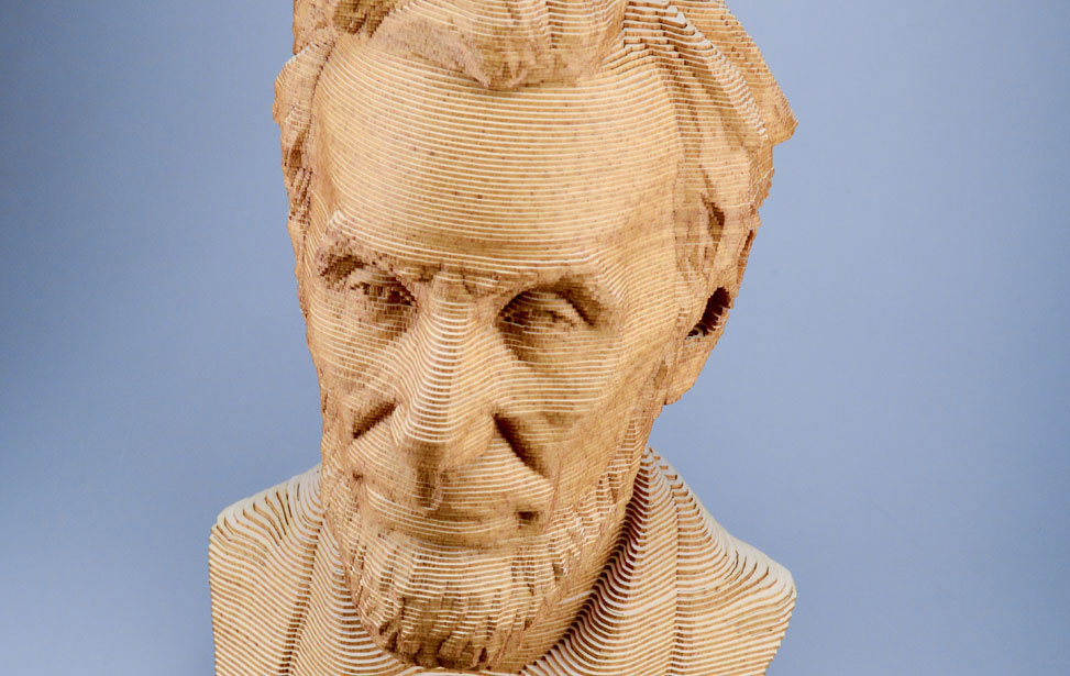 Laser cut 3D president Lincoln bust made with taskboard