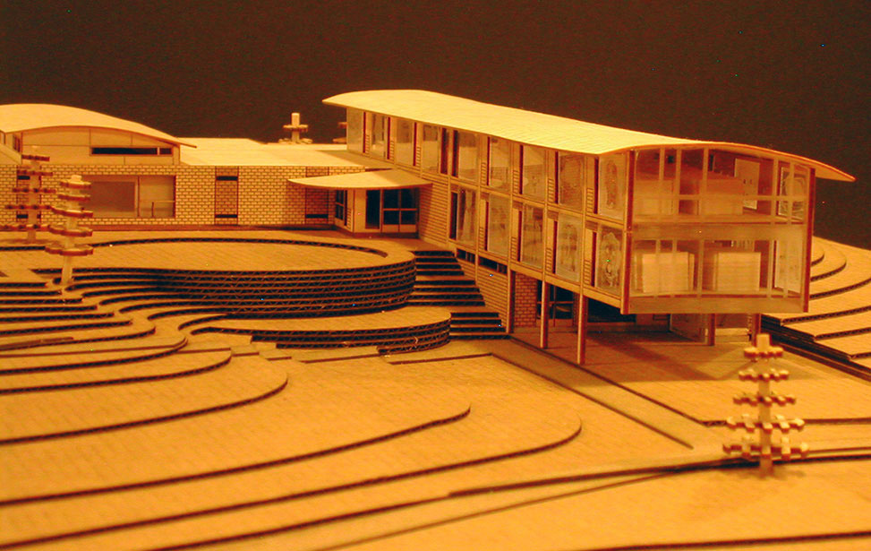 Architectural model of a pet hospital on topographic landscape