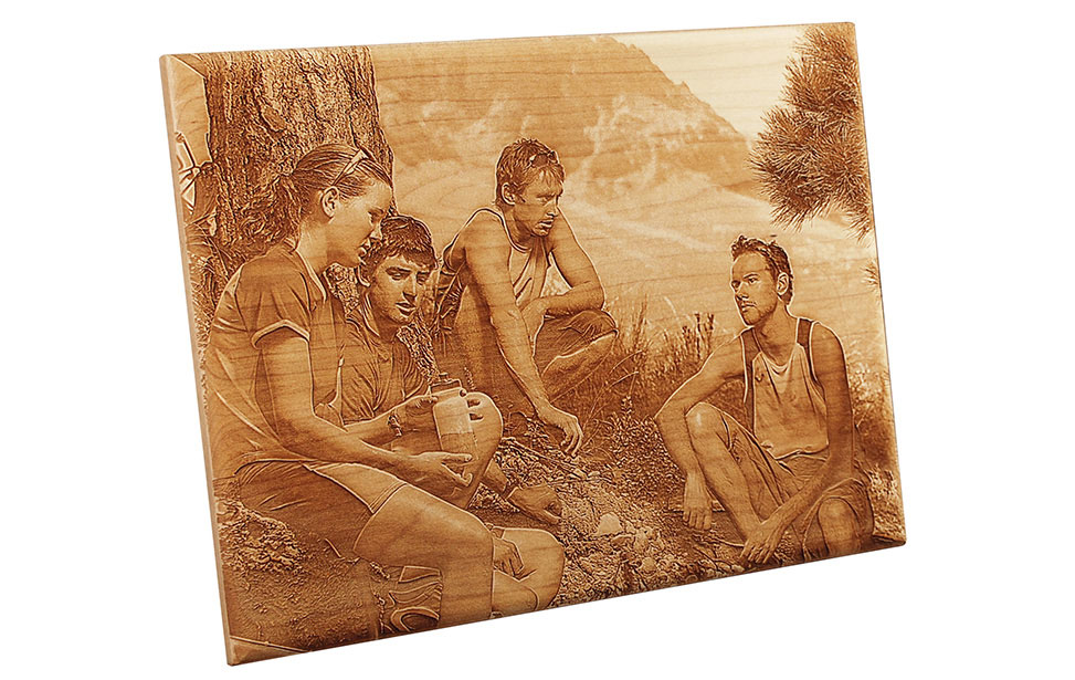 Photo Engraving of Group of Hikers on Wood