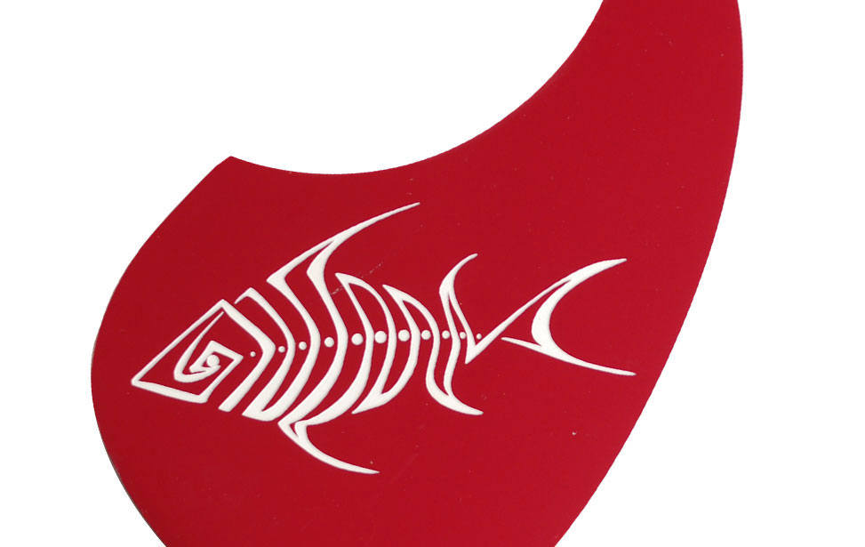 Red pickguard for electric guitar laser cut and engraved with fish graphic