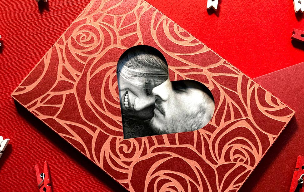 Cardstock Valentine Cut and Engraved with a Laser