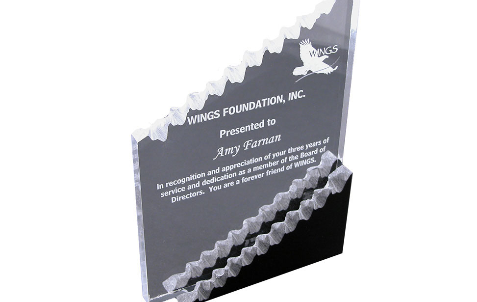 Rough edge acrylic award for Wings Foundation and Help Group