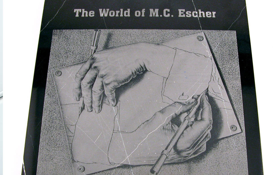 MC Escher Illustration Engraved on Marble