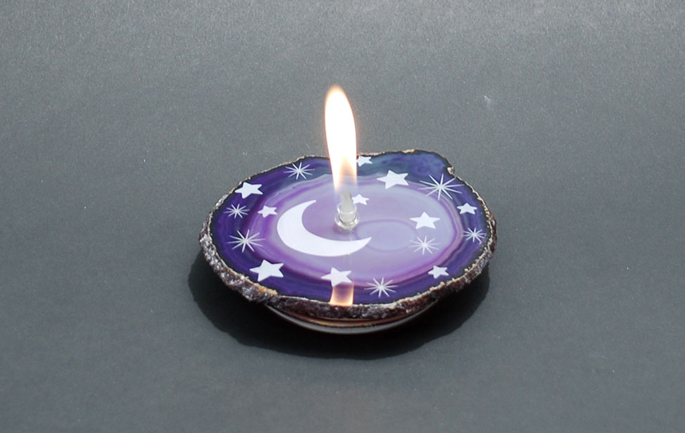 Stars Engraved on Geode Candle