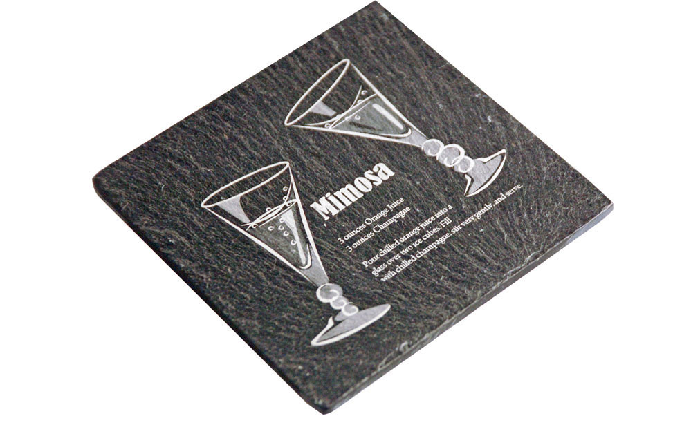 Mimosa Glasses Engraved on Slate Coaster