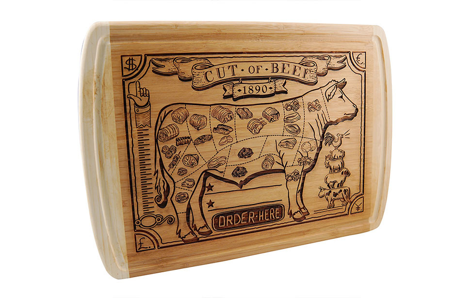 Laser Engraved Cow on Cutting Board