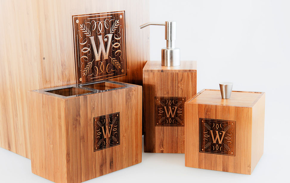 Laser Engraved Bamboo Bathroom Set