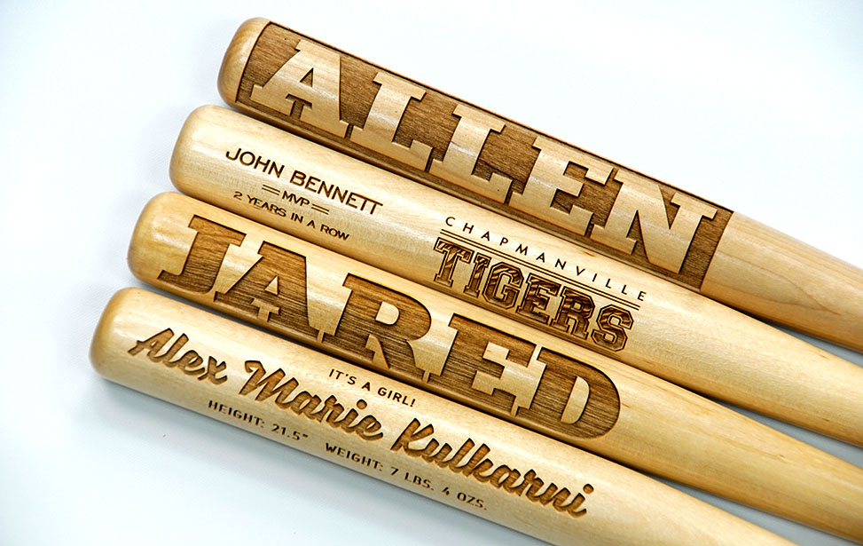Laser Engraved Miniature Wooden Baseball Bats