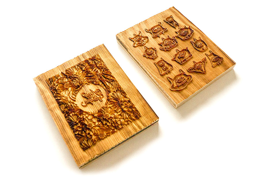 Laser Engraved Wood Block Stamps