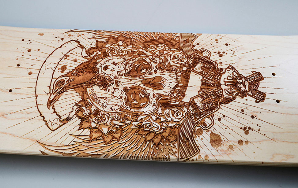 Detail of Skull Engraved Skateboard