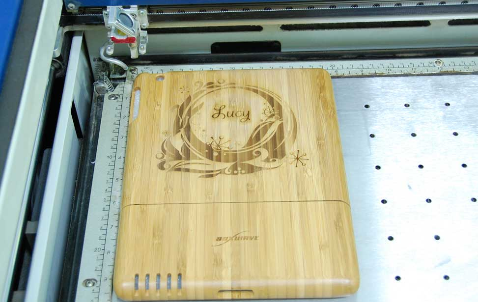 Bamboo laser engraved iPad Case.