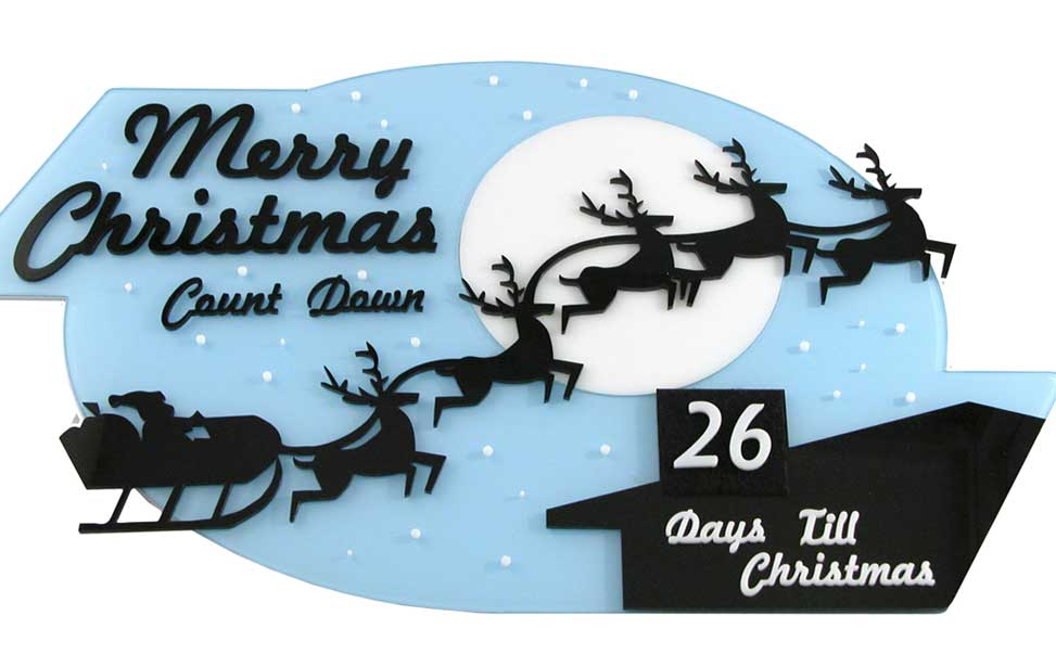 Chrismas countdown laser cut decoration.