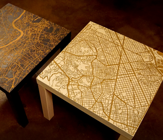 laser engraved end tables