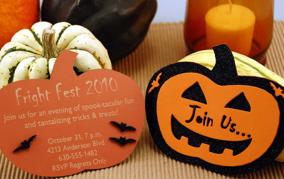 Laser engraved halloween invite