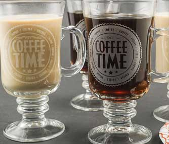 engraved glass coffee mug