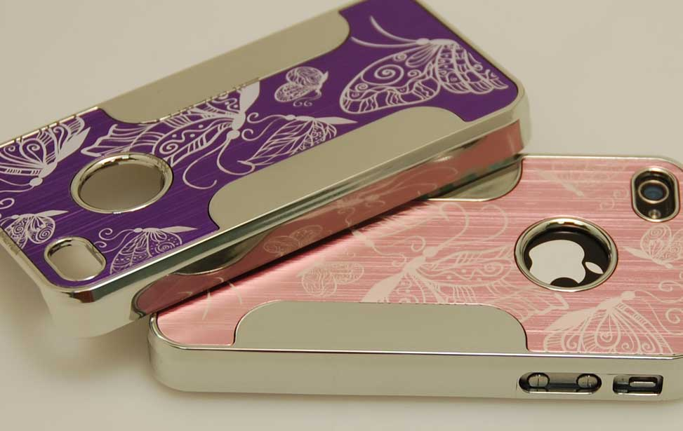 Laser engraved butterfly iPhone case.