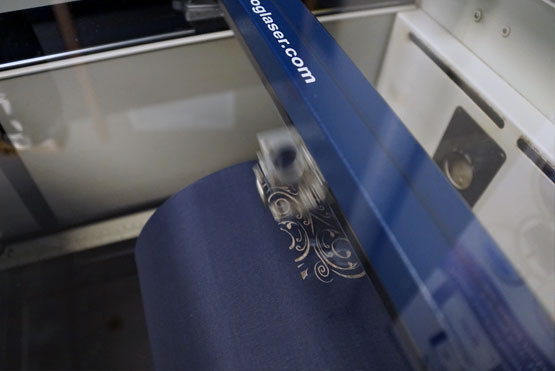 laser engraving the fabric shade