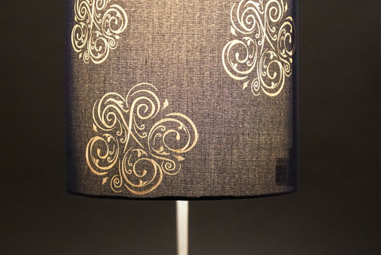 fabric lamp shade engraved and lit