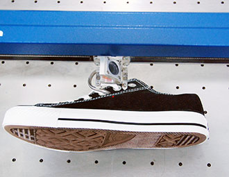 Shoe ready for engraving in the laser.